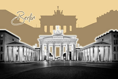 Berlin Art Photograph - Berlin Brandenburg Gate - Graphic Art - Orange by Melanie Viola
