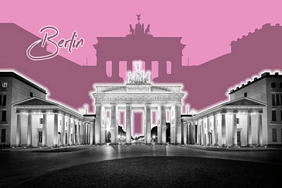 Europe Digital Art - Berlin Brandenburg Gate - Graphic Art - Pink by Melanie Viola