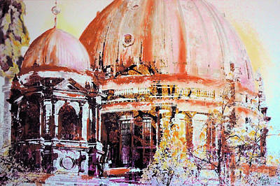 Berlin Mixed Media - Berlin Cathedral Cupolas by Nica Art Studio