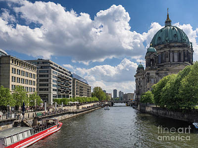 Berlin Cathedral Dom At River Spree  Art Print by Frank Bach