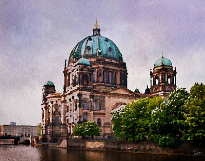 Photograph - Berlin Cathedral Faux Watercolor by Endre Balogh