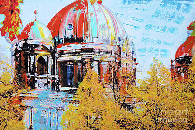 Berlin Mixed Media - Berlin Cathedral Over The Trees by Nica Art Studio