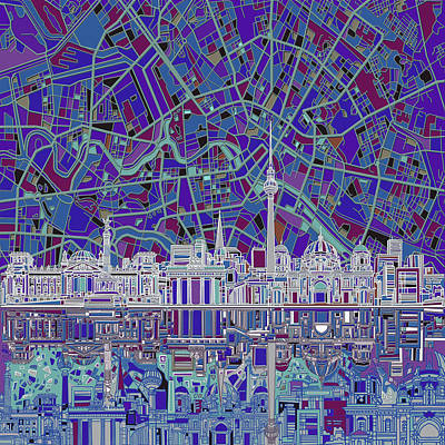 Digital Art - Berlin City Skyline Abstract 3 by Bekim Art