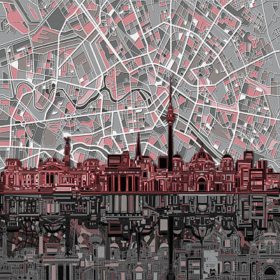 Digital Art - Berlin City Skyline Abstract by Bekim Art
