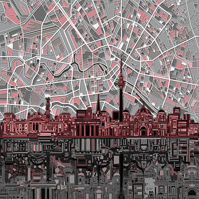 Map Of Germany Digital Art - Berlin City Skyline Abstract by Bekim Art