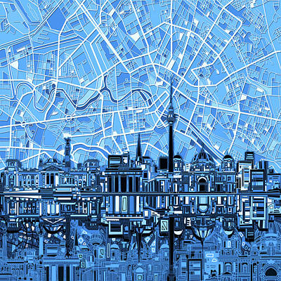 Digital Art - Berlin City Skyline Abstract Blue by Bekim Art