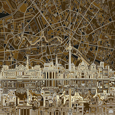 Digital Art - Berlin City Skyline Abstract Brown by Bekim Art