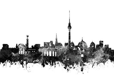 Europe Digital Art - Berlin City Skyline Black And White by Bekim Art