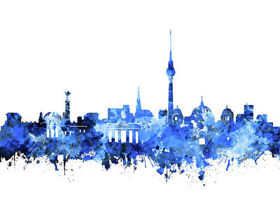 Digital Art - Berlin City Skyline Blue by Bekim Art