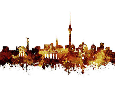 Berlin City Skyline Brown Art Print by Bekim Art