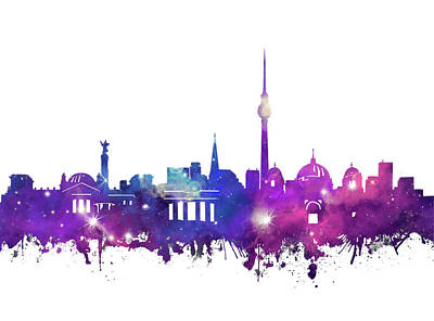 Digital Art - Berlin City Skyline Galaxy by Bekim Art
