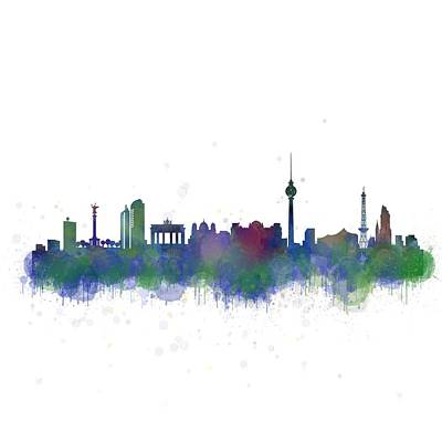 Mauer Digital Art - Berlin City Skyline Hq 1 by HQ Photo