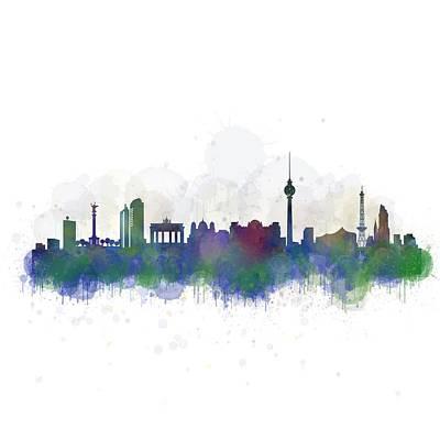 Mauer Digital Art - Berlin City Skyline Hq 2 by HQ Photo