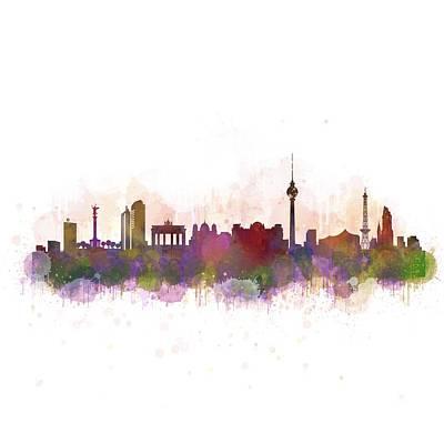 Mauer Digital Art - Berlin City Skyline Hq 3 by HQ Photo