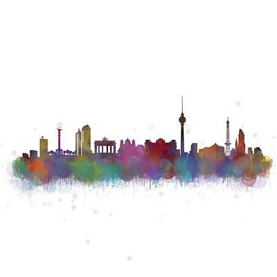 Mauer Digital Art - Berlin City Skyline Hq 4 by HQ Photo