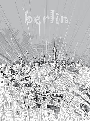 Monochromatic Digital Art - Berlin City Skyline Map 2 by Bekim Art