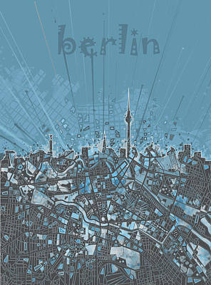 Berlin City Skyline Map 3 Art Print by Bekim Art
