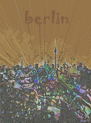 Berlin City Skyline Map 4 Art Print by Bekim Art