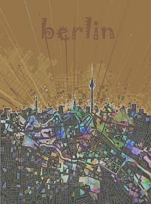 Map Of Germany Digital Art - Berlin City Skyline Map 4 by Bekim Art