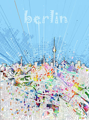 Europe Digital Art - Berlin City Skyline Map by Bekim Art
