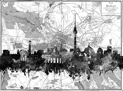 Map Of Germany Digital Art - Berlin City Skyline Vintage 2 by Bekim Art
