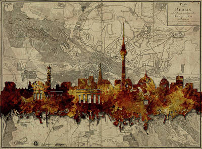 Berlin City Skyline Vintage Art Print by Bekim Art