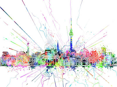 Digital Art - Berlin City Skyline Watercolor 2 by Bekim Art