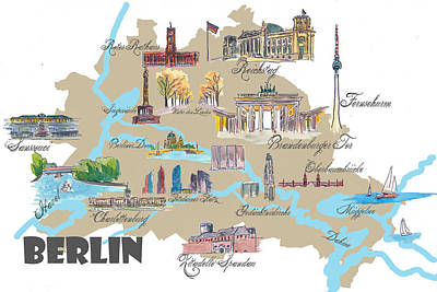 Berlin Painting - Berlin Favorite Map With Touristic Top Ten Highlights by M Bleichner