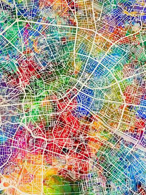 Berlin Digital Art - Berlin Germany City Map by Michael Tompsett