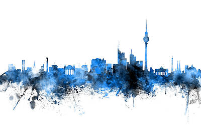 Berlin Germany Skyline Blue Signed Art Print