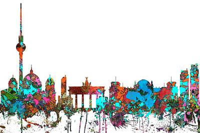 Digital Art - Berlin Germany Skyline  by Marlene Watson
