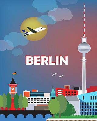 Berlin Germany Digital Art - Berlin Germany Vertical Scene by Karen Young