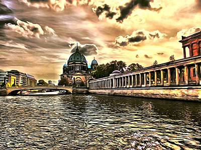 River Spree Painting - Berlin Impression by Ralph van Och