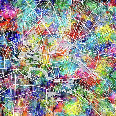 Map Of Germany Digital Art - Berlin Map Watercolor by Bekim Art