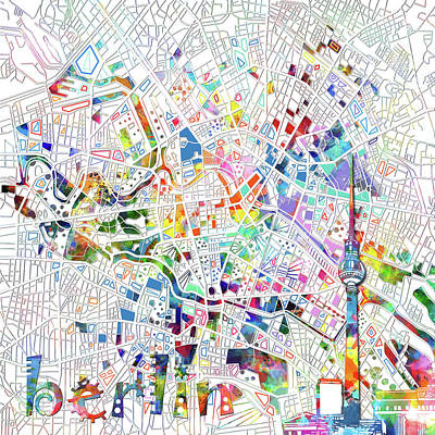 Europe Digital Art - Berlin Map White by Bekim Art
