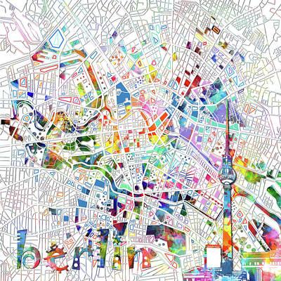 Map Of Germany Digital Art - Berlin Map White by Bekim Art