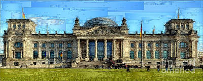 Digital Art - Berlin Parliament Reichstag Building by Rafael Salazar