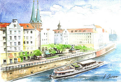 Berlin River Cruise Shows Sights Along The Spree River  Original by Georgi Charaka