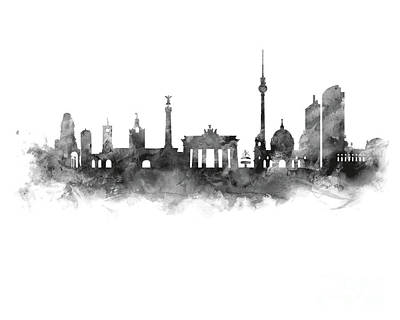 Berlin Mixed Media - Berlin Skyline by Monn Print