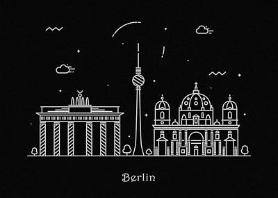 Abstract Landscape Drawing - Berlin Skyline Travel Poster by Inspirowl Design