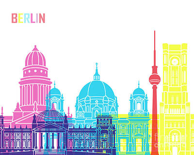 Berlin V2 Skyline Pop Art Print by Pablo Romero