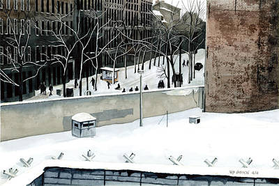 Mauer Painting - Berlin Wall Cold Christmas by Bill Gibson