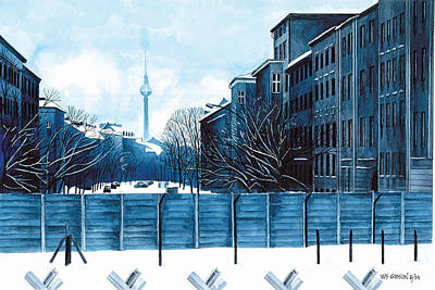 Mauer Painting - Berlin Wall Prussian Blue by Bill Gibson