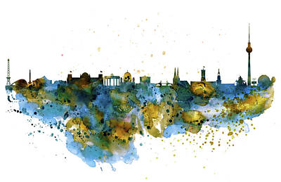 Berlin Mixed Media - Berlin Watercolor Skyline by Marian Voicu
