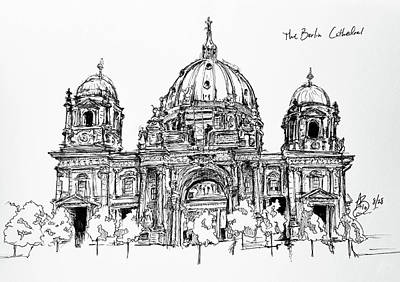 Drawing - Berliner Dom by Anthony Brooks