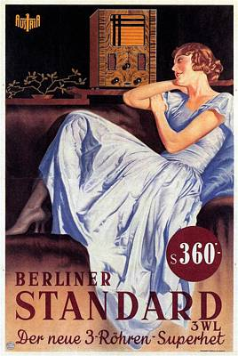 Mixed Media - Berliner Standard - Vintage Austrian Radio Advertising Poster by Studio Grafiikka
