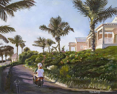 Streetscape Painting - Bermuda Cottages by Liz Dettrey