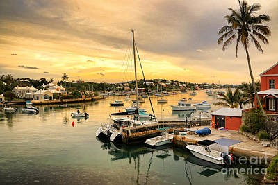 Photograph - Bermuda Hamilton Innner Harbour Dusk by Charline Xia