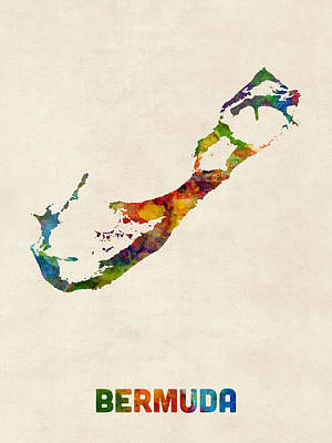 Bermuda Watercolor Map Art Print by Michael Tompsett