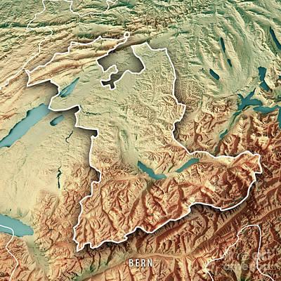 Bern Canton Switzerland 3d Render Topographic Map Border Art Print by Frank Ramspott